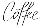 Coffee. Handwritten black text isolated on white background, vector. Each word is on the separate layer