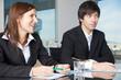 Leinwanddruck Bild - Businessteam zufrieden in Verhandlungen