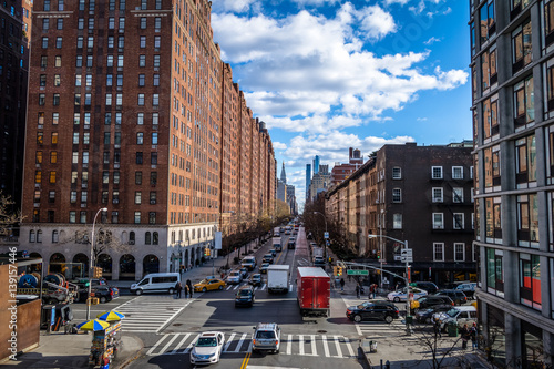 Foto op Plexiglas New York TAXI Street traffic and buildings in Chelsea - New York, USA