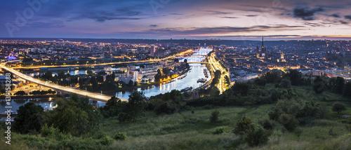 Foto Murales Panorama of Rouen at sunset