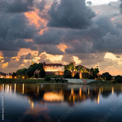 Sunset over Wawel hill in Krakow