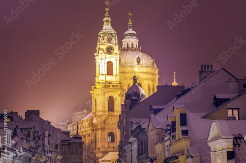 Poster Chicago Winter in Prague - city panorama with St. Nicholas Church