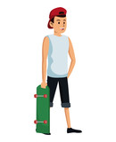 man with red cap and skateboard vector illustration eps 10