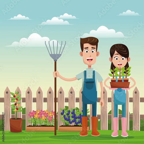 farmers with pitchfork and pot plant field fence vector illustration