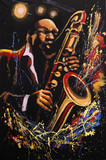 Saxophonist on black background with sprays and splashes, Fantasy original art, acrylic on canvas