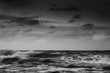 long exposure of sea coast. black and white landscape