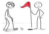 Golf spielen - einlochen und gewinnen