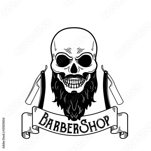 Barbershop emblem, barbershop logo or badge for barber shop signboard, posters Skull with blades and hipster beard and haircut