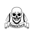 Постер, плакат: Vector Barbershop emblem barbershop logo or badge for barber shop signboard posters Skull with blades and hipster beard and haircut