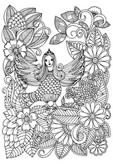 Forest and magic bird in black and white for adult coloring book