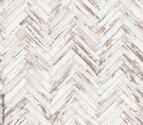 Herringbone old painted parquet seamless floor texture - 139217092