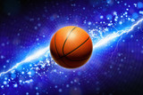 Basketball and powerful blue lightning