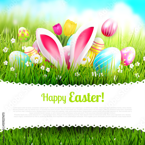 Foto op Canvas Lime groen Cute Easter template