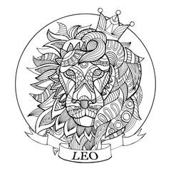 Lion zodiac sign coloring book vector