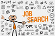 Job Search / Mann mit Symbole