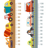 Fototapety working and city transport height measure  - vector illustration, eps