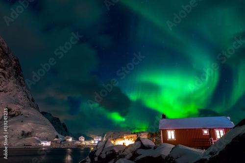Plexiglas Noorderlicht Northern Lights over Norwegian Houses