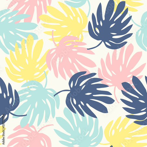 Cotton fabric seamless pattern with monstera leaves