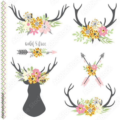 Aluminium Hipster Hert Collection of deer horns with flowers