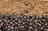 background of the many aromatic roasted coffee beans and granules soluble
