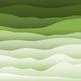 Material design vector backdrop. Abstract colorful bright background in green tones of the undulating shapes.