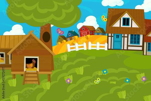Fotobehang Boerderij cartoon illustration of traditional farm village