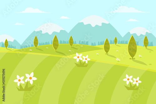 Nature Landscape Background. Flat Design Style.