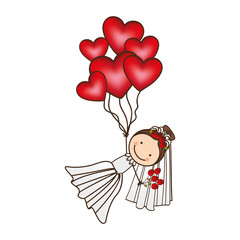bride with red heart balloons in the hands, vector illustraction