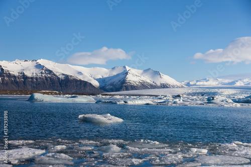 Iceland Jakulsarlon lagoon during winter season, natural landscape background.
