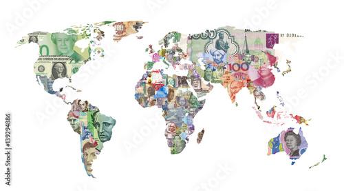 Fototapeta world currency map