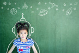 Kid's imagination with learning inspiration in science technology engineering maths STEM education concept - Fine Art prints