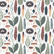 Forest botanical seamless pattern. Vector illustration