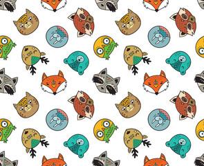 Seamless pattern of cute animal portraits