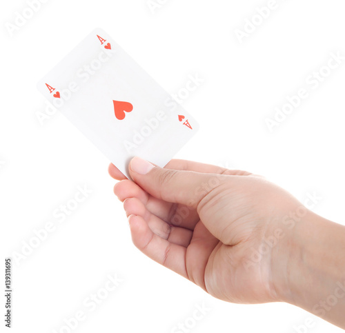playing cards in hand isolated on white background Poster