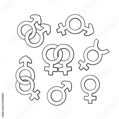 Vector Illustration Hand Drawn Doodle Set Of Gender Symbols Gender