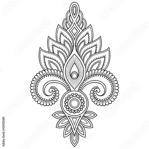 54bd1d9980466 Henna tattoo flower template in Indian style. Ethnic floral paisley -  Lotus. Mehndi style
