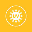UV radiation icon in circle