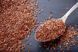flax seeds on black background - 139331606