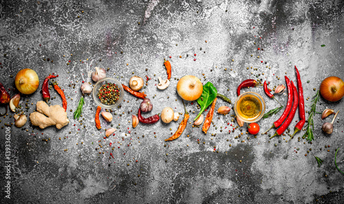 Fresh spices. Aromatic spices on a rustic background.