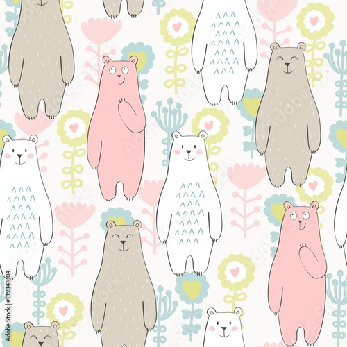 Fototapeta Vector seamless pattern with bear and flowers