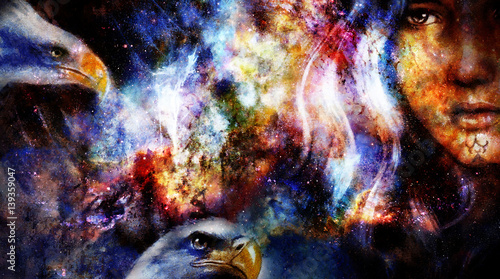 brave untamed girl with pair of eagles, graphic collage with space motive.