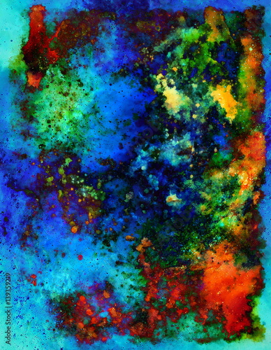 abstract background with multicolor space structures, crackles and spots.