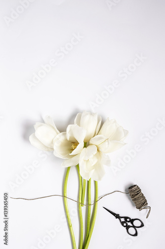 Floral background with red and white tulips
