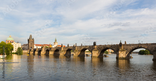 Poster Charles Bridge in Prague at Sunset