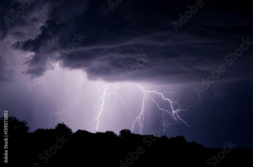lightning storm in the sky
