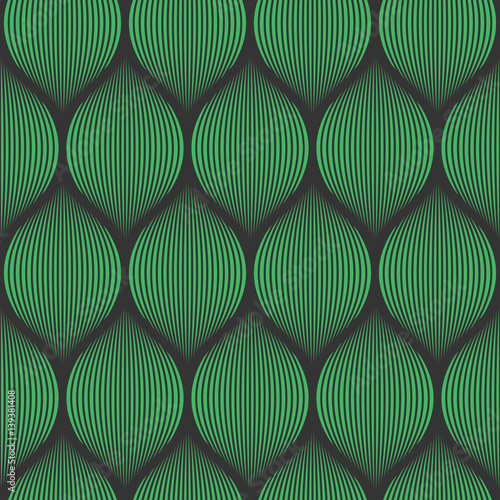 Fototapeta Seamless black and green optical illusion woven pattern vector