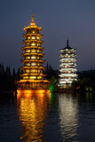 Two towers in Guilin city, China