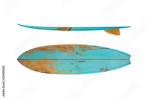 Fototapeta Vintage surfboard isolated on white - Retro styles 60's