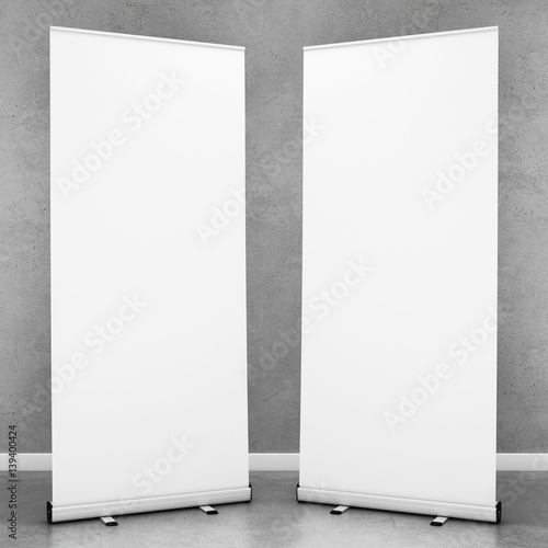 Blank roll up banners template. 3D rendering