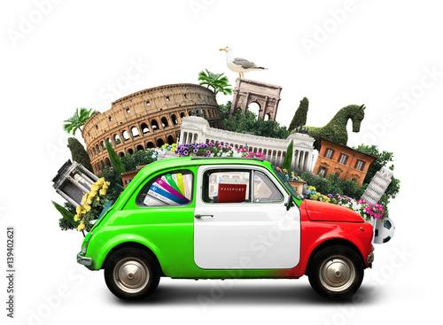 Włochy, atrakcje Włochy i retro włoski samochód